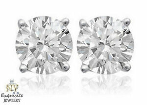 CERTIFIED .80ct FVS2 ROUND-CUT GENUINE DIAMONDS IN 14K GOLD STUDS EARRINGS