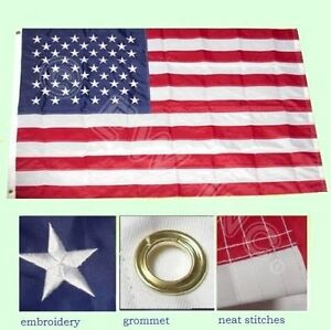 3#x27;x5#x27; FT American Flag USA US U.S. Embroidered Stars Sewn Stripes Brass Gromm