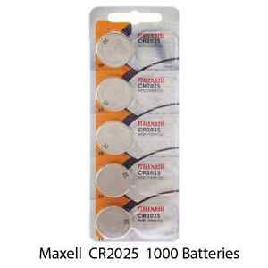 Maxell CR2025 3 Volt Lithium (1000 Batteries) - Tracking Included!