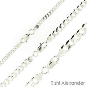 925 Sterling Silver Curb Cuban Mens Womens Chain Necklace .925 Italy All Sizes $16.99
