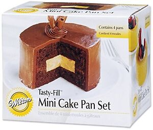 Tasty-Fill Mini 4 pc Cake Pan Set from Wilton #155 NEW (2 Pack)