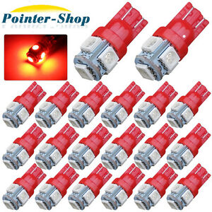 20x Super Red T10 Wedge 5 SMD 5050 LED License Dome Map Interior Light Bulbs