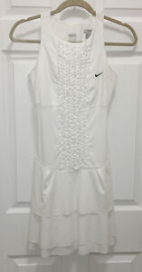 NEW Womens Sz XS NIKE Wimbledon Fit Dry White Ruffled Tiered Skirt Tennis Dress