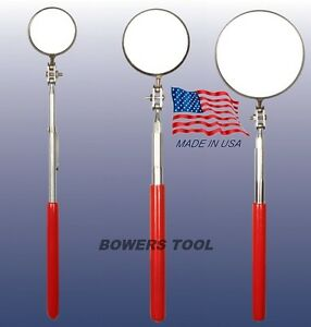 Ullman 3pc Telescoping Inspection Mirror Set Red Grip 1-2-3 in. Diameter USA