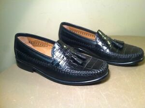 Mens Florsheim Leather Dress Shoes Loafers Tassel Black Alligator Design Sz 8D