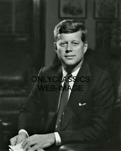 1961 8X10 PORTRAIT PHOTO PRESIDENT JFK JOHN F KENNEDY IN OVAL OFFICE WHITE HOUSE