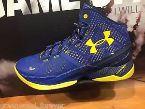 Under Armour UA Curry 2 Dub Nation Away Navy Blue Yellow Men & Youth Sizes