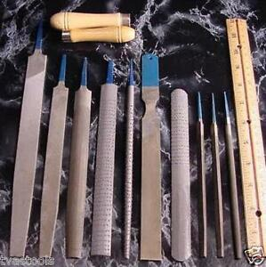 12pc. Metal and Wood FILE SET Full Size with storage pouch wood handles
