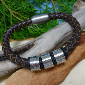 Brown Braided Leather Men's Stainless Steel Bracelet
