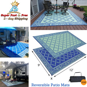 Rv Camping Mats Indoor Outdoor Camping Picnic Patio Reversible Rug Large 9#x27;X 18#x27;