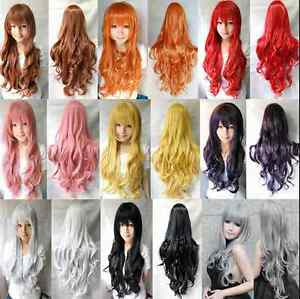 80CM Fashion Women Lady Long Wavy Curly Hair Anime Cosplay Party Full Wig Wigs $8.79