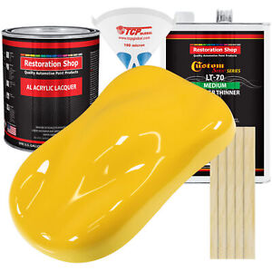 Sunshine Yellow Gallon Kit Single Stage ACRYLIC LACQUER Car Auto Body Paint Kit