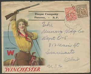 WINCHESTER MULTICOLORED ADVERTISING GUN COVER ON DUQUE Co. PANAMA WLM202