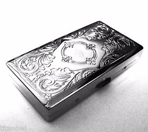 Victorian Style Cigarette Case Double Sided King amp; 100s Etched Pattern 4x2inch $8.69