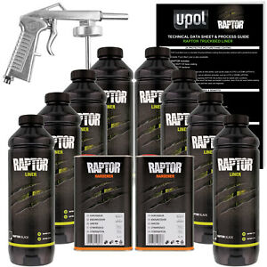 U-POL Raptor Black Urethane Spray-On Truck Bed Liner Spray Gun, 8 Liters