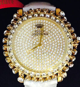 NEW JUICY COUTURE GOLD CRYSTALS WHITE LEATHER BRACELET WATCH 1901079