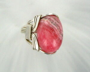 RHODOCHROSITE GEMSTONE RING  IN STERLING SILVER SIZE 5 TO 15 WIRE WRAPPED