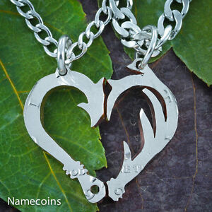 Fish Hook and Antler Necklace set making a heart Country Couples jewelry