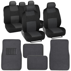 9 Piece Charcoal & Black Seat Covers Set Split Bench and 4 Pc Charcoal Floor Mat