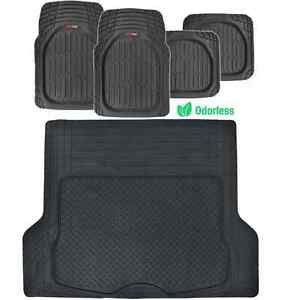 Black Deep Dish All Weather Premium Rubber Mats Set - 5pc Floor Liners Cargo Mat