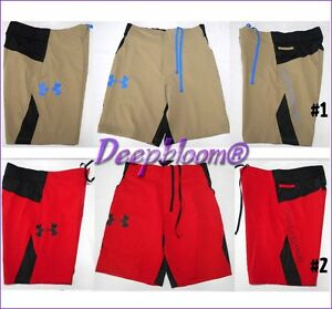 UNDER ARMOUR TRAINING ASCENT SHORTS MENS SZ M L XL COMBINE KHAKI RED BOARD NEW