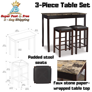 3 Piece Marble Table Stool Pub Bar Set Wood Chairs 42