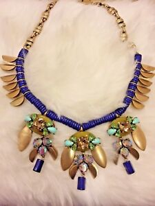 J Crew Statement Necklace Brass Color Blue Multi-color Crystal Drop bib green