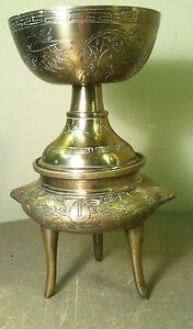 Antique Etched Brass Bronze Chinese Censer incense burner Xuande mark 2.3lbs