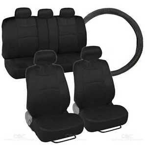 9Pc Sporty Mesh Cloth Black  Black Seat Cover & 1 Pc Black Steering Wheel Cover