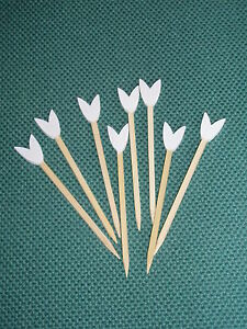 9cm White Tulip Wooden Skewers Cocktail Sticks Ideal Buffet Canapes