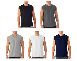 Mens Sleeveless Muscle Tee Cotton Solid Blank Tank T Shirt Hot Summer Gym Top $9.50