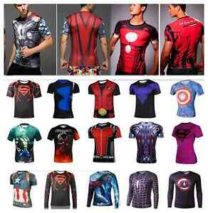 Superhero 3D Cycling Sport Jersey Gym Men T-Shirt Short Long Sleeve Dry Fast