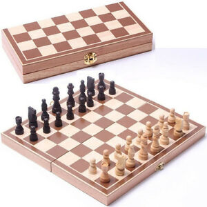 New 30*30cm Standard Game Vintage Wooden Chess Set Foldable Board Great Gift $19.85