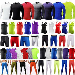 Compression Baselayer Fitness Gym Thermal Shorts PantsVestT-shirts Under Skins