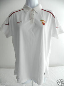Nike USC Trojans Classic Polo Shirt Dri Fit Womens  Medium White Short Sleeves