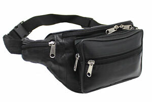 REAL LEATHER ZIPPED SECURE WAIST BUM BAG TRAVEL HOLIDAY MONEY DOCUMENT POUCH