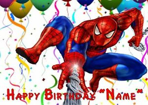 SPIDERMAN PARTY Edible Cake Topper Image Frosting - quarter half round strips