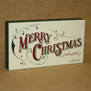 Merry Christmas Happy New Year Box Sign Primitives by Kathy
