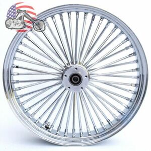 Chrome 21 3.5 46 Fat Daddy King Spoke Front Wheel Rim Harley Touring Dual Disc