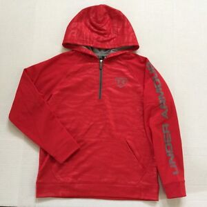 Boy's Youth Under Armour Loose Fit Quarter Zip Baseball Hoodie All Season Gear