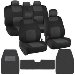 Classic Black/Charcoal Cloth Car Seat Covers + Carpet Floor Mats for Auto Rug XL
