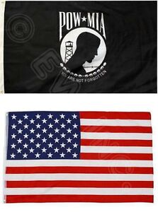 2PK 3X5FT Flags POW MIA PRISONER OF WAR MISSING IN ACTION And AMERICAN USA FLAG