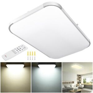 48W Dimmable LED Ceiling Light Bathroom Remote Flush Mount Home Fixture Lamp 25