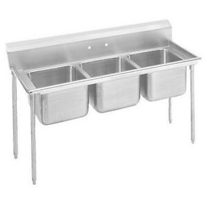 Advance Tabco Super Saver 900 Series 304 Stainless Steel 3 Compartment Regaline