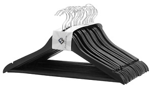 Black Durable Wood Suit Hangers Non Slip Bar - Pack of 48