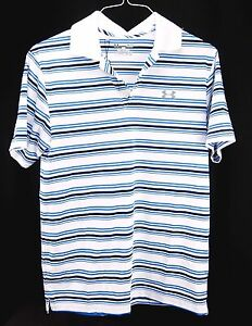 Under Armour Mens Golf Polo Shirt Blue UA ClubHouse HeatGear Loose Fit Size