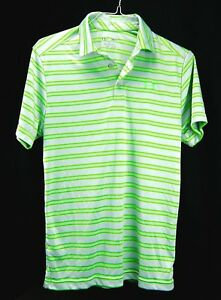 Under Armour Striped Golf Polo Shirt Green Gray Loose Fit HeatGear Mens S