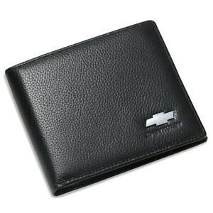 Chevrolet Bifold Wallet Black Genuine Leather with 6 Credit Card ID Holder Men