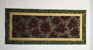 Poinsettia with Gold Accents Table Runner Quilt Top-20 x 47 - Pine Needle border