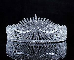 SUNLIGHT CLEAR AUSTRIAN CRYSTAL RHINESTONE TIARA HAIR COMBS CROWN BRIDAL T2311 $18.99